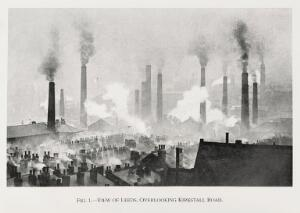 view View over Leeds, smoking chimneys. Air pollution in the early 20th century.