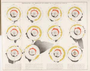view Report on the mortality of cholera in England. Charts showing the temperature and mortality of London for every week of 11 years (1840 - 1850).