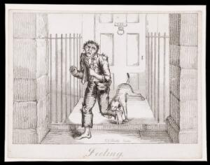 view A man in ragged clothes being bitten by a guard dog at the entrance to a town house; representing the sense of touch. Etching by T.L. Busby, ca. 1826.