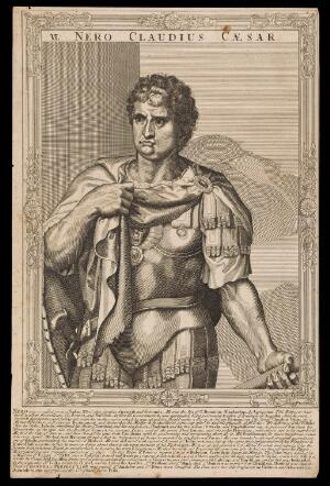 view Nero, Emperor of Rome. Line engraving, 16--, after A. Sadeler after Titian.