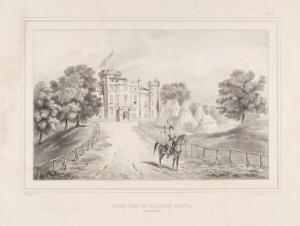 view Eglinton Tournament: front of Eglinton castle, a herald on horseback blowing a bugle. Lithograph by H. Wilson after C.A. d'Hardiviller, 1839.