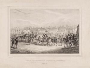 view Eglinton Tournament: the procession of knights to the Pavilion of the Queen of Beauty. Lithograph by H. Wilson after C.A. d'Hardiviller, 1839.