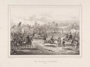 view Eglinton Tournament: knights performing jousts. Lithograph by H. Wilson after C.A. d'Hardiviller, 1839.