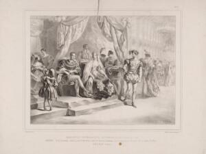 view Eglinton Tournament: guests in the banqueting hall and ballroom in Eglinton Castle. Lithograph by H. Wilson after C.A. d'Hardiviller, 1839.