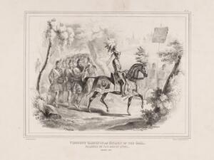 view Eglinton Tournament: Baron Glenlyon as the Knight of the Gael, with the Atholl Highlanders. Lithograph by H. Wilson after C.A. d'Hardiviller, 1839.