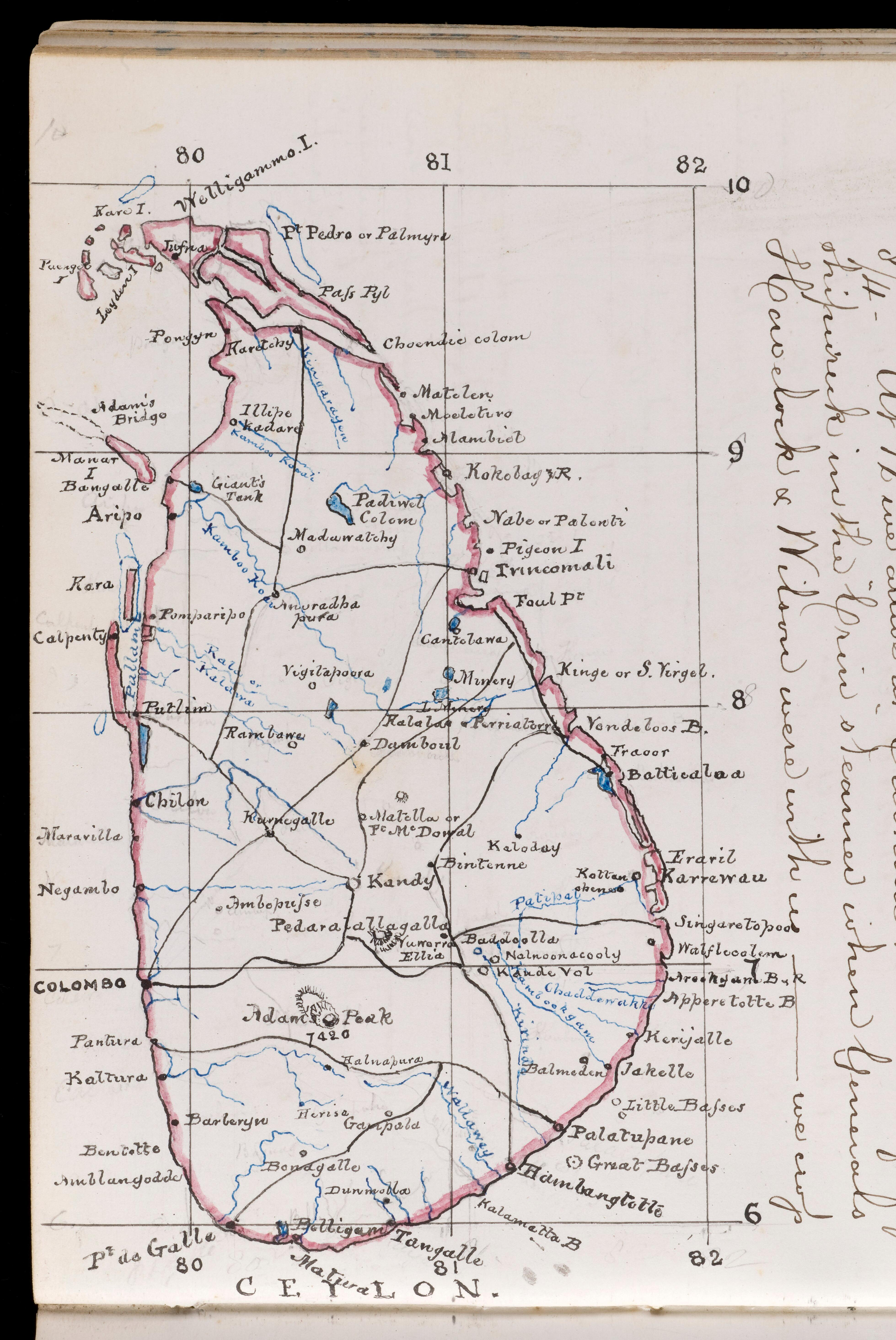 Mcript map of Ceylon (Sri Lanka) drawn using black, blue ... on tunis map, sumatra map, timbuktu map, bengal map, punjab map, moluccas map, canton map, south asia, malaysia map, china map, kiev map, ghana map, burma map, japan map, gujarat map, kabul map, damascus map, morocco map, singapore map, tibet map, congo africa located on map,