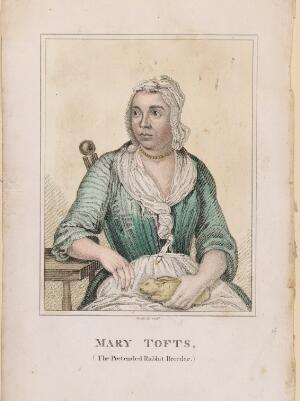 view Mary Tofts, a woman who pretended that she had given birth to rabbits. Coloured stipple engraving by Maddocks.