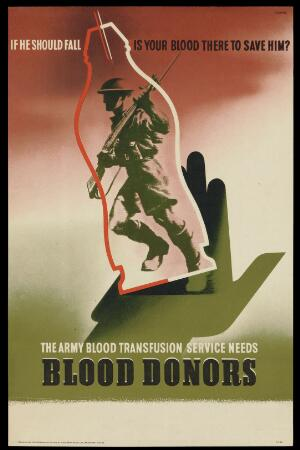 view A soldier within a blood-flask, referring to the army's need of blood-donations. Colour lithograph after Abram Games, 1943.
