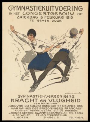 view World War I: a gymnastic performance in Amsterdam for the benefit of wounded French soldiers. Colour lithograph by A. Ost, 1918.