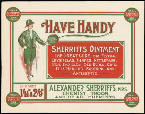 view A Scottish sheriff, advertising Sherriffs ointment for skin diseases. Colour lithograph.