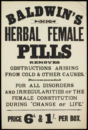 view Baldwin's Herbal Female Pills: advertisement. Lithograph,