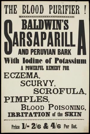 view Baldwin's Sarsaparilla and Peruvian Bark: advertisement. Lithograph, 19--.
