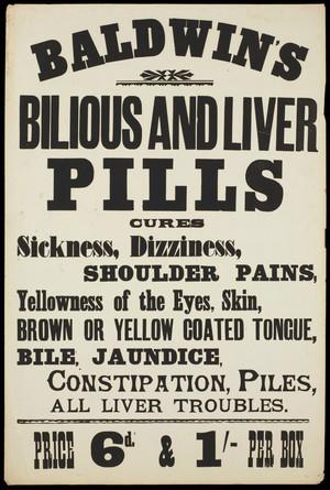 view Baldwin's Bilious and Liver Pills: advertisement.