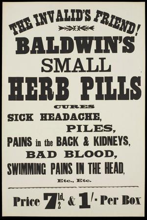view Baldwin's Small Herb Pills: advertisement. Lithograph, 19--.