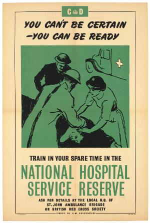 view Members of the British National Hospital Service Reserve attending to someone who has been injured; advertising recuitment to the National Hospital Service Reserve. Colour lithograph, 1951 (?).