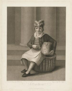 view A butcher's boy, seated on a basket, holding a large piece of meat; demonstrating attention (attentiveness). Stipple engraving by C. Knight, 1800, after S. De Koster.