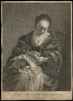 view A young woman tending to a a cut on her finger from which drops of blood fall. Line engraving by F. Basan, 17--, after N. Berchem (?).