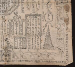 view Cloth with illustrations and inscriptions