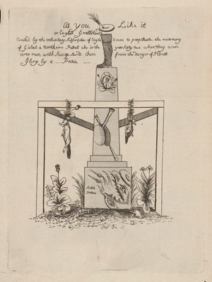 view A jack-boot stands on top of a truncated obelisk enclosed within a triangular gibbet from which hang a fox and a goose from garlands; representing the Treaty of Paris, 1763. Etching, 1763.