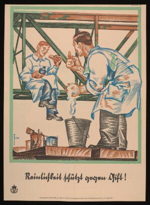 view A painter on a crane, eating a meal, while a cleaner tells him to eat his food elsewhere; advertising the value of cleanliness for safety in the building trades. Colour lithograph after L. Fries, 192-.