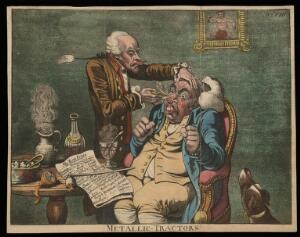 "view An operator treating the carbuncled nose of an obese patient with ""Perkins's tractors""."