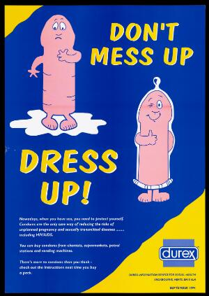 view Two personified penises, one of them wearing a condom to show their value as a protection against unplanned pregnancy and sexually transmitted diseases including AIDS. Colour lithograph, 1994.