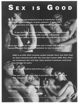 view Two male gay couples and two heterosexual couples embrace representing safe sex and AIDS; advertisment about information on HIV/AIDS by the San Francisco AIDS Foundation. Black and white lithograph by Warwick May..