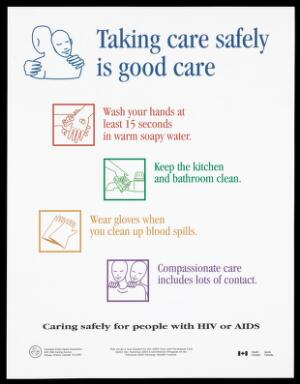 view Verso: two people hugging with list of ways of taking care from washing your hands to compassionate care for people with HIV/AIDS (English version); part of a project by the National AIDS Strategy, Health Canada. Colour lithograph.