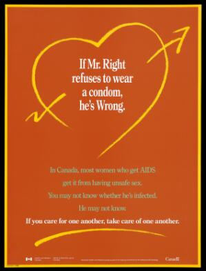 view A heart pierced with an arrow and a warning to couples to use condoms: an advertisement for safe sex by Health and Welfare Canada. Colour lithograph.