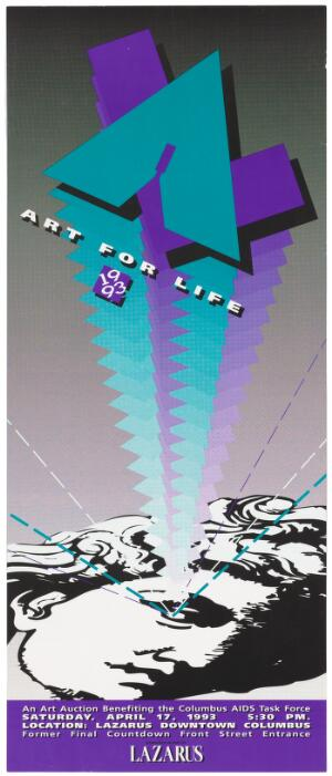 view The head of Michelangelo's David with a graphic rising up with the words 'Art for Life 1993'; advertising an art auction benefiting the Columbus AIDS Task Force at Lazarus Downtown Columbus. Colour lithograph, 1993.
