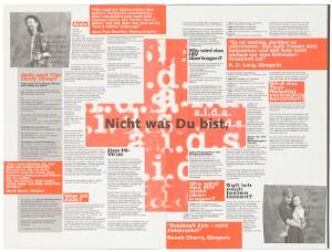 view A 4 side pamphlet about AIDS featuring on the front page, a photograph of a couple living with HIV with their arms around each other; an advertisement about AIDS and where to get help by the AIDS-Hilfe Schweiz in collaboration with the Federal Office of Public Health and supported by The Body Shop; features HIV statistics in Europe and quotes from musicians, actors and singers including K. D. Lang. Colour lithograph by Pierre Matthey, Zurich, in cooperation with the members of the PWA (People With AIDS), Switzerland.