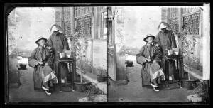view China: a Manchu man with a servant, Beijing. Photograph by John Thomson, 1869.