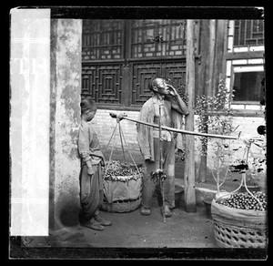view Peking, Pechili province, China: a travelling fruit-seller. Photograph by John Thomson, 1869.