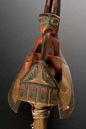 view Shaman's Rattle. Detail of figure.