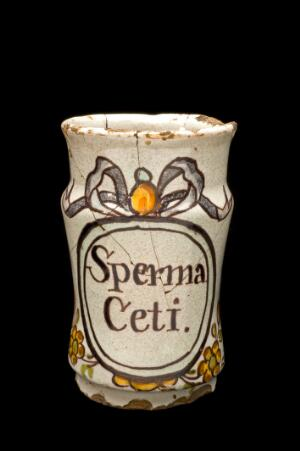 view Small albarello drug jar for spermaceti, Italy, 1701-1800