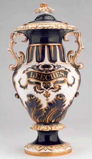 view Pharmacy leech jar,blue gilt earthenware, English 1831-1859