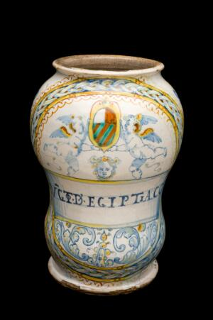 view Drug jar for Egyptian ointment, Italy, 1585