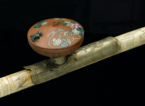 view Ivory opium pipe with metal mount and terracotta bowl, Chinese
