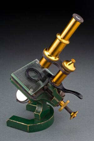 view Compound microscope used to examine meat, France, 1851-1900