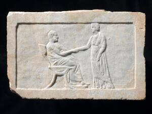 view Marble relief marking a grave, Greece, 350-300 BCE