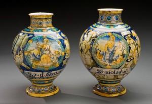 view Drug jar showing St Matthew, Italy, 1570-1630