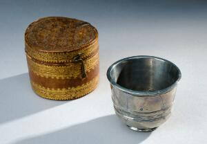 view Antimony cup with leather case, Europe, 1601-1700