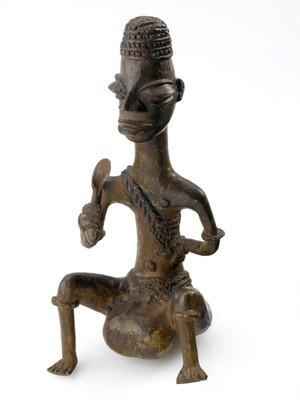 view Bronze statue showing elephantiasis of the scrotum, Nigeria,