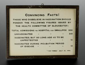 view Framed poster advocating vaccination against smallpox, Engla