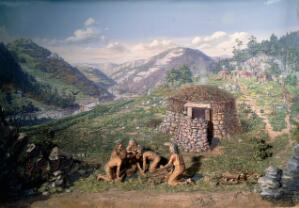 view Diorama showing trephination in Neolithic times, England, 19