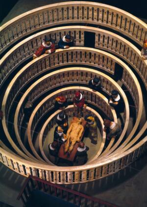 view Scale model of anatomy theatre built at Padua in 1594, showing disection taking place.