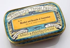view Tin of 'Allenburys' throat pastilles, London, England, 1920-