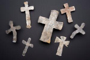 view Lead mortuary crosses, England, 1300s and 1600s