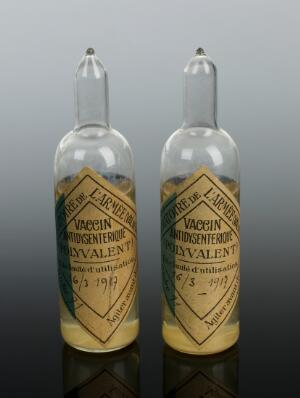 view Two glass ampoules of dysentery vaccine, Paris, France, 1917