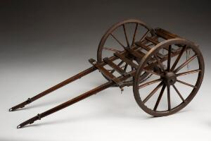 view Model of a horse-drawn military ambulance, England, 1850-190